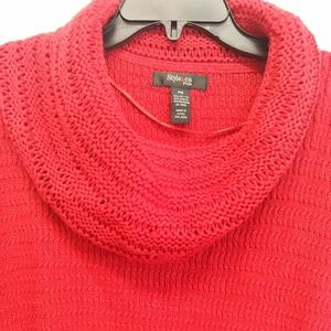 Style & Co Petite Red Tunic Cowl Neck Sweater